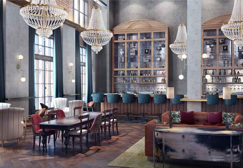 The Ramble Hotel Lobby Rendering